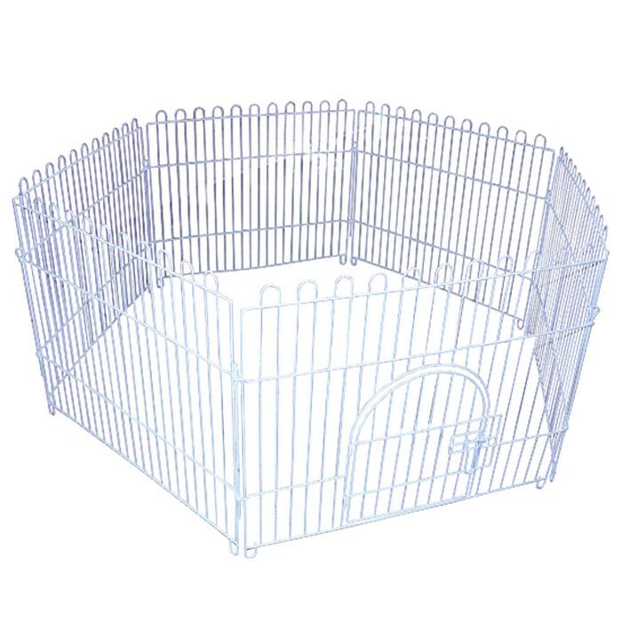 Вольер для животных Triol шестисекционный, 84 см х 69 смK-K3Вольер для животных Triol, выполненный из металла с эмалированным покрытием, состоит из 6 секций. Одна из секций снабжена металлической дверцей с надежным запором-задвижкой, дверца открывается на 180 градусов, плотно прижимаясь к стенке. Конструкция отличается надежностью, секции соединены между собой при помощи металлических скоб. Подходит для дома, дачи, для выгула собак и щенков на улице. Из секций можно собрать ограждение любой формы для вашего животного. Размер одной секции (Ш х В): 84 см х 69 см.