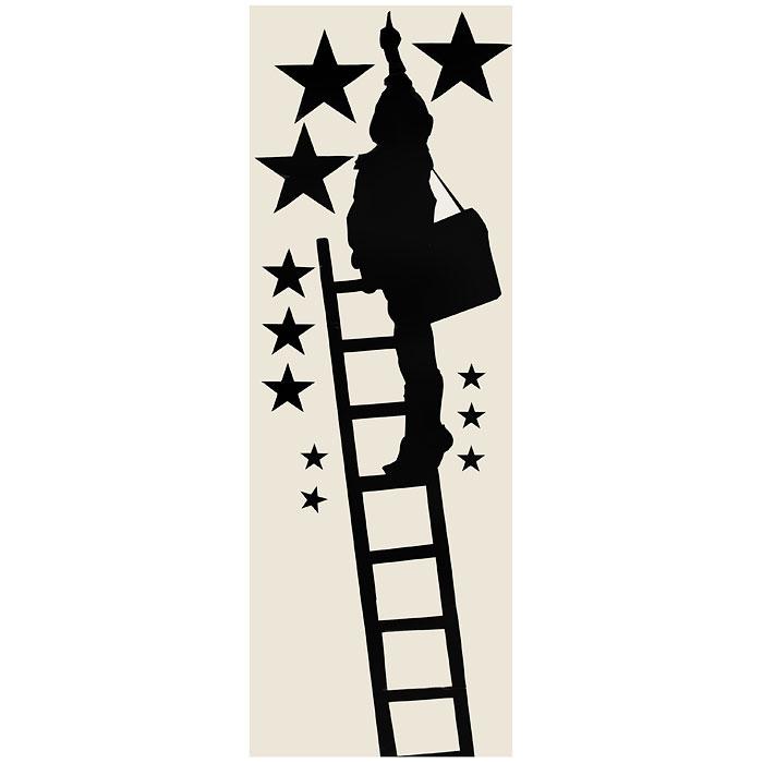 Стикер Paristic Ребенок в звездах, цвет: черный, 100 см х 45 смПР00171Стикер Paristic Ребенок в звездах выполнен из матового винила - тонкого эластичного материала, который хорошо прилегает к любым гладким и чистым поверхностям, легко моется и держится до семи лет, не оставляя следов. Добавьте оригинальность вашему интерьеру с помощью необычного стикера Ребенок в звездах. На стикере изображен силуэт ребенка, стоящего на лестнице и указывающего на звезды. Необыкновенный всплеск эмоций в дизайнерском решении создаст утонченную и изысканную атмосферу не только спальни, гостиной или детской комнаты, но и даже офиса. Сегодня виниловые наклейки пользуются большой популярностью среди декораторов по всему миру, а на российском рынке товаров для декорирования интерьеров - являются новинкой.