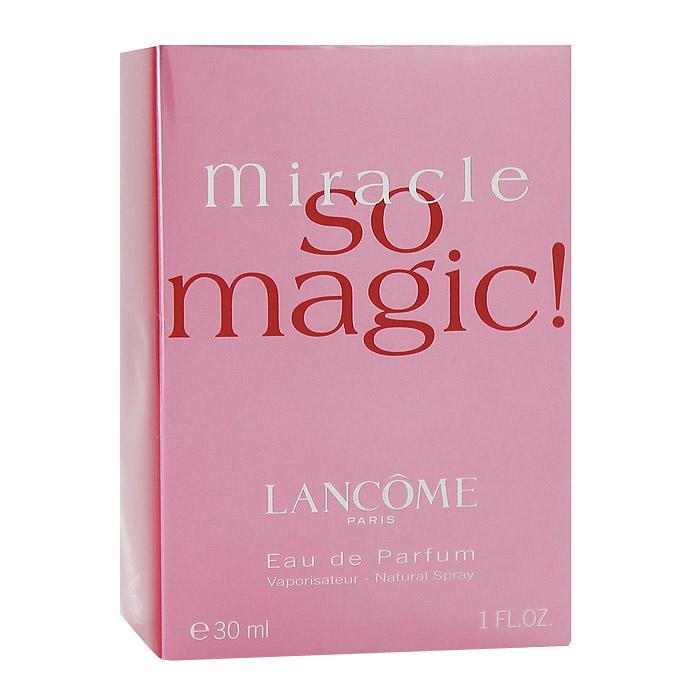 Lancome Miracle So Magic. Парфюмерная вода, 30 мл04097Аромат Lancome Miracle So Magic - восхитительный, розовый, искристый свежий цветочный... Это больше чем аромат, это чудесная эссенция оптимизма и хорошего настроения. Ощущение праздника пронизывает воздух. Композиция адресована молодым, остро чувствующим жизнь женщинам. Аромат оптимизма и счастья. Классификация аромата : цветочный. Верхние ноты: нарцисс, роза. Ноты сердца: роза, нарцисс, клевер. Ноты шлейфа: мускус, ваниль. Ключевые слова : Вдохновенный, женственный, интимный, соблазнительный! Характеристики: Объем: 30 мл. Производитель: Франция. Самый популярный вид парфюмерной продукции на сегодняшний день - парфюмерная вода. Это объясняется оптимальным балансом цены и качества - с одной стороны, достаточно высокая концентрация экстракта (10-20% при 90% спирте), с другой - более доступная, по сравнению с духами, цена. У многих...