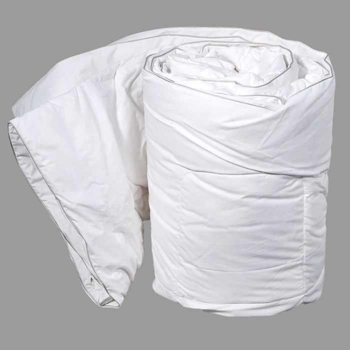 Одеяло Dargez Вилларс сверхлегкое, 172 х 205 см20340ВСверхлегкое одеяло Dargez Вилларс представляет собой чехол из белоснежного перкаля с наполнителем из белого пуха первой категории. Наполнитель из пуха придает изделию дополнительную упругость и легкость. Особенности одеяла Dargez Вилларс: - натуральное и экологически чистое; - обладает легкостью и уникальными теплозащитными свойствами; - создает оптимальный температурный режим; - обладает высокой гигроскопичностью: хорошо впитывает и испаряет влагу; - имеет высокую воздухопроницаемость: позволяет телу дышать; - обладает мягкостью и объемом. Одеяло вложено в текстильную сумку-чехол зеленого цвета на застежке-молнии, а специальная ручка делает чехол удобным для переноски.