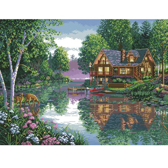 Набор для вышивания крестом Лесное озеро, 64 см х 49 см4050-14В наборе для вышивания крестом Лесное озеро есть все необходимое для создания собственного чуда: обработанная канва Аида 14СТ белого цвета, хлопковые мулине, цветная символьная схема и инструкция по вышиванию. Красивый и стильный рисунок-вышивка, выполненный на канве, выглядит оригинально и всегда модно. Канва в наборах обработана крахмальным средством и полужесткая, что позволяет вышивать как с пяльцами, так и без них. Нитки, применяемые в наборах, изготавливаются из хлопка, гладкие, ровные, имеют стойкую окраску. Работа, сделанная своими руками, создаст особый уют и атмосферу в доме, и долгие годы будет радовать вас и ваших близких. Работа, которая отвлечет вас от повседневных забот, и превратится в увлекательное занятие!