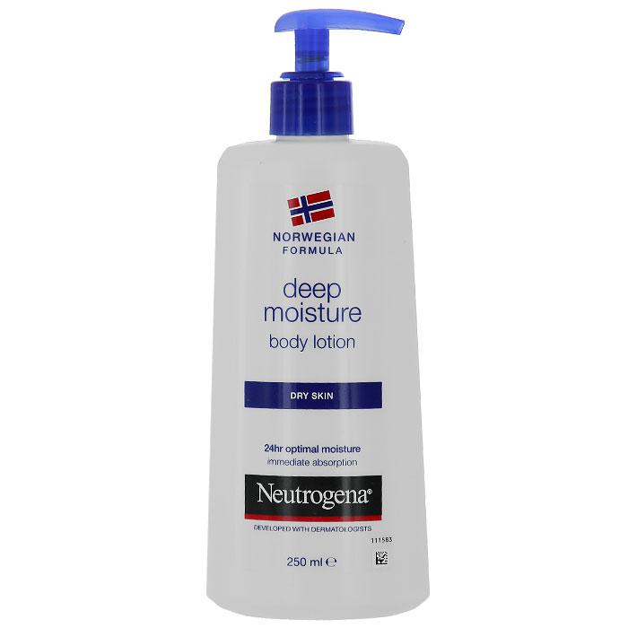 Молочко для тела Neutrogena Глубокое увлажнение, для сухой кожи, 250 мл64243/76499Молочко для тела Neutrogena Глубокое увлажнение - обеспечивает мягкость и гладкость, увлажнение и защиту кожи, гарантирует увлажнение даже самой сухой кожи в течение 24 часов. Активная формула с глицерином, пантенолом и витамином Е проникает вглубь эпидермиса, благодаря чему даже обезвоженная кожа чувствует себя комфортно. Клинически доказано, что благодаря своей уникальной формуле это молочко, в отличие от других средств, проникает до 10 слоя эпидермиса. Нежирная и легкая, быстро впитывающаяся текстура мгновенно проникает в кожу, не оставляя жирной пленки и следов на одежде. В состав молочка входят вода, глицерин, помогающий удерживать в коже влагу, пантенол, увлажняющий эпидермис, повышающий его эластичность, а также витамин Е, которой замедляет процессы старения и защищает от вредного влияния окружающей среды.