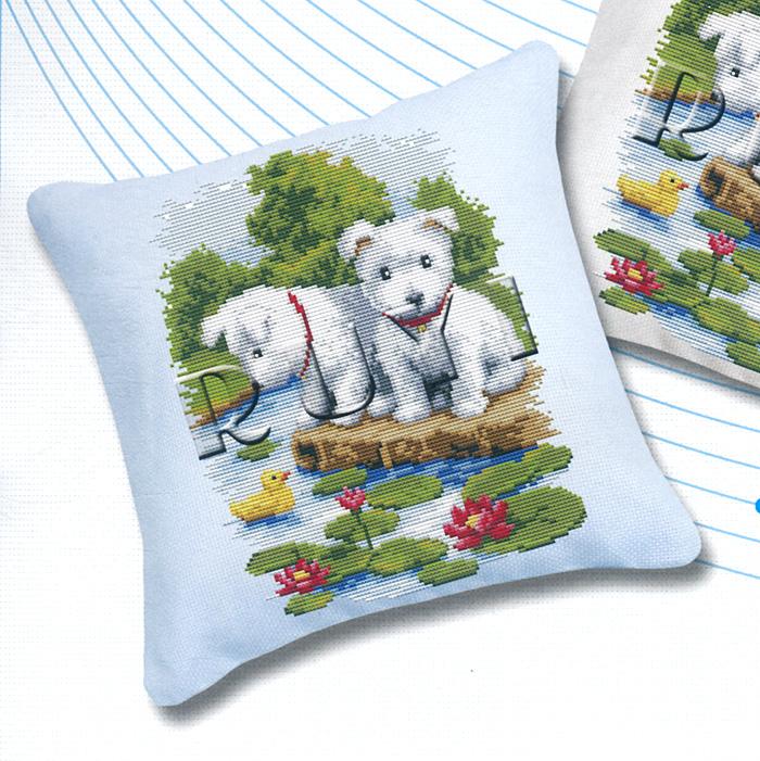 Набор для вышивания подушки Щенки, 45 х 45 см192В наборе для вышивания Щенки есть все необходимое для создания оригинальной подушки: канва 11СТ голубого цвета, две иглы для вышивания, хлопковое мулине 26 цветов, цветная символьная схема и инструкция по вышиванию. Красивая и оригинальная подушка, выполненная собственноручно, станет самым ценным для друзей и близких.