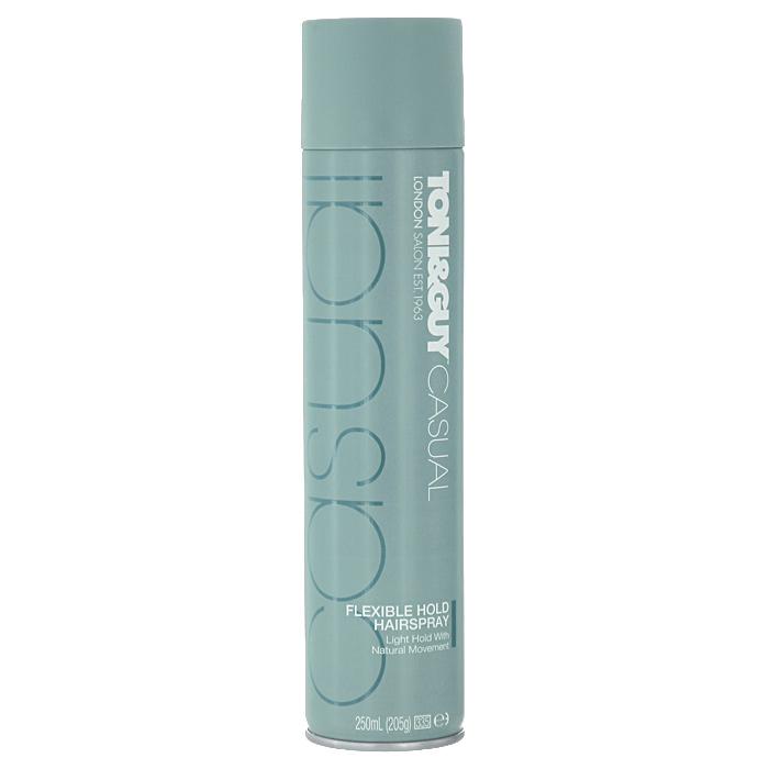 Спрей для волос TONI&GUY Casual. Легкая фиксация, 250 мл50100210Спрей для волос TONI&GUY Casual. Легкая фиксация обеспечивает подвижную фиксацию, придает ощущение легкости без склеивания на протяжении всего дня. Способ применения : распылите лак равномерно на высушенные феном и уложенные в прическу волосы или до укладки феном, чтобы надолго зафиксировать результат. Для придания дополнительного объема укладке используйте мусс для волос TONI&GUY Prep. Эффектный объем от корней . Сделайте свой стиль ярче и придайте завершенность своему образу, воспользовавшись средствами из стайлинговой коллекции TONI&GUY Casual.