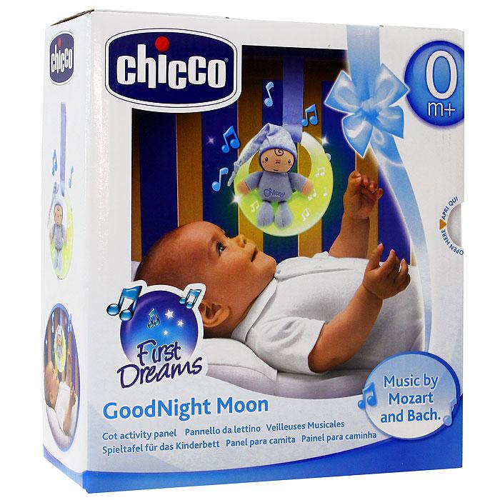 Музыкальная подвеска на кроватку Chicco (Чико) Спокойной ночи, цвет: голубой2426200000Музыкальная подвеска на кроватку Chicco (Чико) Спокойной ночи выполнена в виде луны нежно голубого цвета с маленькой мягкой игрушкой в виде малыша в комбинезоне и колпаке, сидящего на луне. Подвеска будет расслабляюще действовать на ребенка, благодаря тусклому свету и классическим мелодиям. Подвеска оснащена двумя режимами, переключающими с помощью кнопочки: первый режим - музыка и свет, действующий в течение пяти минут и второй режим - только свет, также действующий в течение пяти минут. Огоньки на подвеске загораются и переливаются. Музыкальную подвеску можно прикрепить к кроватке при помощи специальной ленточки. Характеристики: Материал: пластик, текстиль, полиэстер. Рекомендуемый возраст: от 0 месяцев. Размер подвески: 15 см х 14 см x 5 см. Длина ленточки: 15 см. Размер упаковки: 19 см х 21 см x 7,5 см. Изготовитель: Китай. Необходимо докупить 2 батареи напряжением 1,5V типа AAA (не входят в комплект).