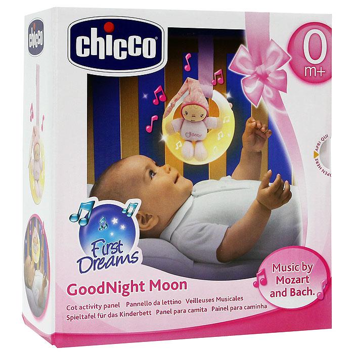 Музыкальная подвеска на кроватку Chicco (Чико) Спокойной ночи, цвет: розовый2426100000Музыкальная подвеска на кроватку Chicco (Чико) Спокойной ночи выполнена в виде луны розово-голубого цвета с маленькой мягкой игрушкой в виде малыша в комбинезоне и колпаке, сидящего на луне. Подвеска будет расслабляюще действовать на ребенка, благодаря тусклому свету и классическим мелодиям. Подвеска оснащена двумя режимами, переключающими с помощью кнопочки: первый режим - музыка и свет, действующий в течение пяти минут и второй режим - только свет, также действующий в течение пяти минут. Огоньки на подвеске загораются и переливаются в такт колыбельной музыке. Музыкальную подвеску можно прикрепить к кроватке при помощи специальной ленточки. Характеристики: Материал: пластик, текстиль, полиэстер. Рекомендуемый возраст: от 0 месяцев. Размер подвески: 15 см х 14 см x 5 см. Длина ленточки: 15 см. Размер упаковки: 19 см х 21 см x 7,5 см. Изготовитель: Китай. Необходимо докупить 2 батареи напряжением 1,5V типа AAA (не входят в комплект).