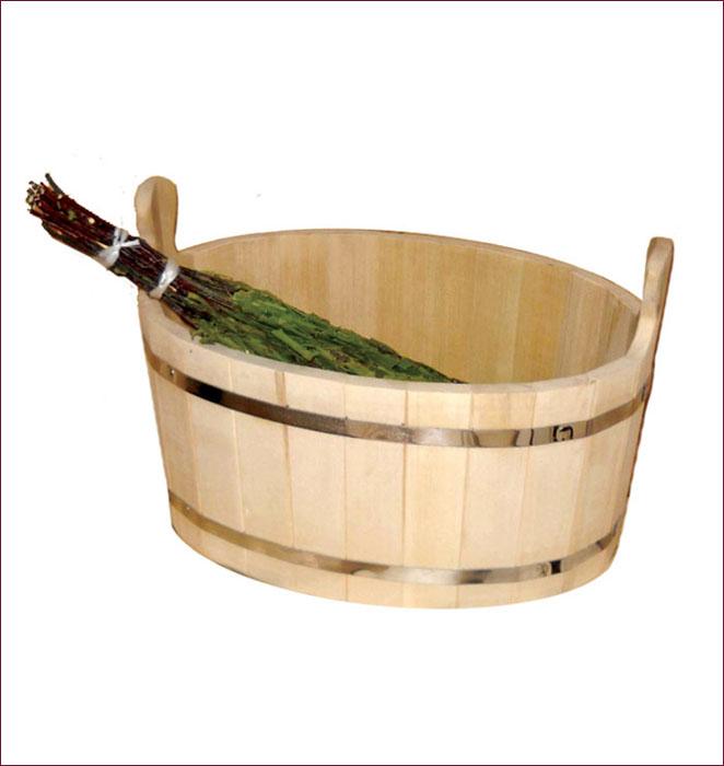 Ушат Шайка, 30 л03658Ушат Шайка овальной формы, выполненный из липы, прекрасно подойдет для замачивания веника или других банных процедур. Ушат, изготовленный из этой древесины, не портится от воды. Характеристики: Материал: дерево (липа), металл. Объем: 30 л. Размер: 53 см х 43 см х 31 см. Артикул: 03658.