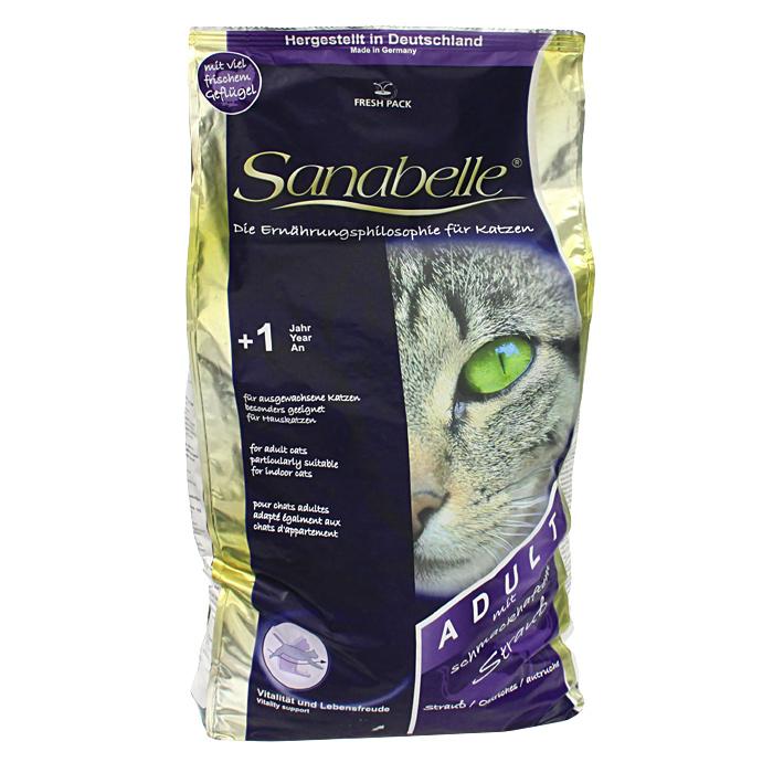 """Корм сухой Sanabelle """"Adult"""", для взрослых кошек, со страусом"""