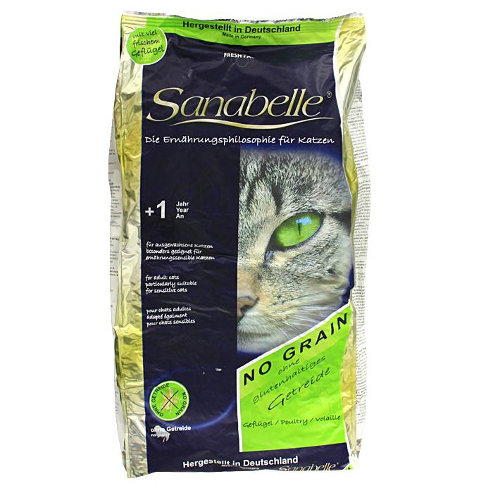 """Корм сухой Sanabelle """"No Grain"""", для взрослых кошек с чувствительным желудком, с мясом птицы"""