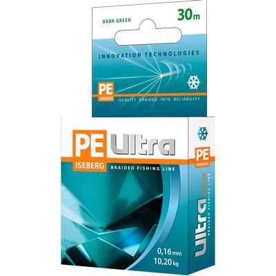 "Aqua Плетеный шнур Aqua ""PE Ultra Iceberg Dark Green"", толщина 0,14 мм, длина 30 м"