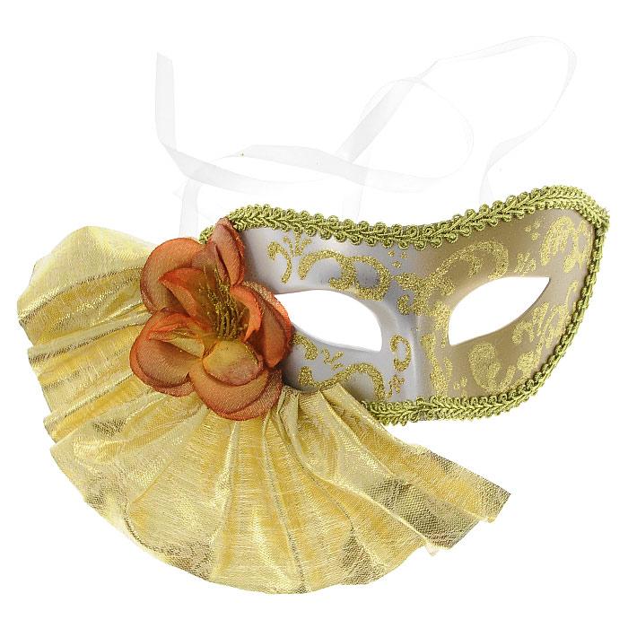 Карнавальная маска Magic Time. 2548325483Изящная карнавальная маска из пластика украшена тканью золотого цвета, в виде веера с цветком, а также узорами из золотых блесток. Такая маска внесет нотку задора и веселья в праздник. Маска станет завершающим штрихом в создании праздничного образа. Карнавальная маска держится при помощи атласных ленточек. В этой роскошной маске вы будете неотразимы!