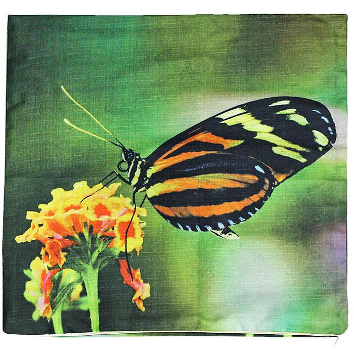 Наволочка декоративная Бабочка, 40 х 40 смНДБДекоративная наволочка Бабочка, выполненная из полиэстера, гармонично впишется в интерьер вашего дома и создаст атмосферу уюта и комфорта. Наволочка оформлена изображением бабочки, сидящей на цветке. Наволочка застегивается на застежку-молнию.