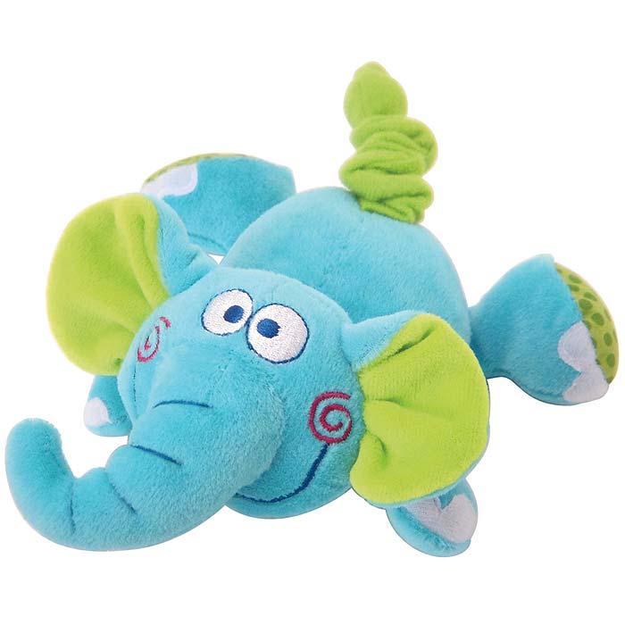 Мягкая игрушка Слоненок33236Яркая мягкая игрушка Слоненок понравится вашему малышу и не позволит ему скучать! Игрушка выполнена в виде очаровательного слоника из текстильных материалов различных фактур голубого, зеленого и белого цветов. Стоит только потянуть за хвостик слоненка, и игрушка начнет вибрировать и забавно смеяться до тех пор, пока хвостик не вернется в исходное положение. Яркая веселая игрушка поможет ребенку познакомиться с новым ощущением вибрации, развить мелкую моторику рук, зрительное и слуховое восприятие, тактильные ощущения и координацию движений, а милый жизнерадостный образ подарит малышу хорошее настроение!