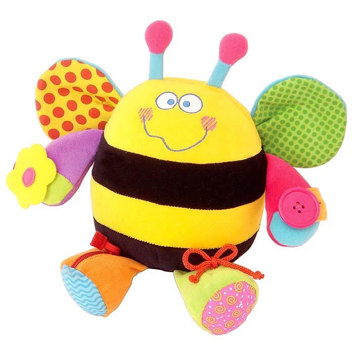 Развивающая игрушка Ученая пчела33241Развивающая игрушка Ученая пчела, непременно, привлечет внимание вашего малыша и не позволит ему скучать. Игрушка выполнена в виде забавной пчелки с множеством обучающих элементов. Внутри пчелки находится колокольчик, который звенит при тряске. Крылышки пчелки шуршат. Внутри одной лапки находится пищалка, в другой - гремящая сфера. На лапках различные виды застежек: крупная пуговица с петелькой, цветочек на липучке, шнуровка и застежка-молния. Разноцветная яркая игрушка из текстильных материалов различной фактуры способствует развитию у ребенка цветовосприятия, звуковосприятия, тактильных ощущений и мелкой моторики рук. Кроме того, игрушка учит малыша справляться с различными застежками, что помогает ему в навыках обучения самостоятельному одеванию.