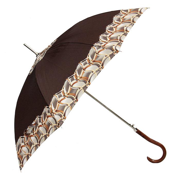 Зонт-трость женский Edmins, полуавтомат, цвет: коричневый. 503 49503 49Стильный полуавтоматический зонт-трость Edmins, каркас которого выполнен из восьми металлических спиц, а купол - из полиэстера коричневого цвета, защитит вас в ненастную погоду. Зонт имеет удобную рукоятку закругленной формы, изготовленную из дерева. Зонт-трость Edmins имеет полуавтоматический механизм сложения: купол открывается нажатием кнопки на рукоятке, а закрывается вручную до характерного щелчка.