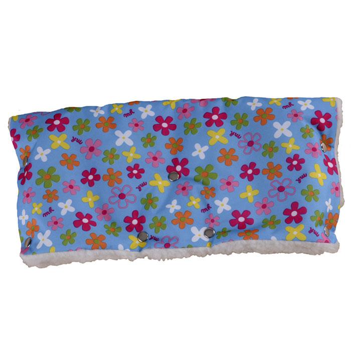 """Муфта для рук на коляску """"Чудо-Чадо"""", меховая, цвет: голубой в цветочек"""