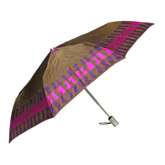 Зонт женский Edmins, автомат, 3 сложения, цвет: коричневый. 301 58301 58Автоматический зонт Edmins в 3 сложения даже в ненастную погоду позволит вам оставаться стильной и элегантной. Каркас зонта выполнен из восьми металлических спиц, удобная рукоятка - из пластика. Зонт имеет полный автоматический механизм сложения: купол открывается и закрывается нажатием кнопки на рукоятке, стержень складывается вручную до характерного щелчка. Купол зонта выполнен из полиэстера под сатин коричневого цвета. На рукоятке для удобства есть небольшой шнурок, позволяющий надеть зонт на руку тогда, когда это будет необходимо. К зонту прилагается чехол.