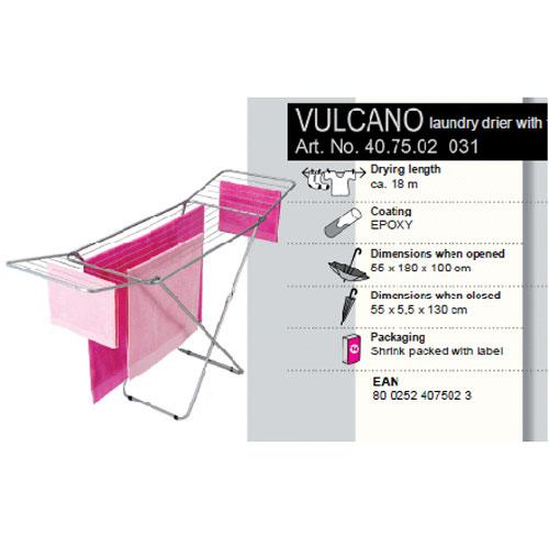 Сушилка для белья Vulcano, напольная, 18 м40.75.02Напольная сушилка для белья Vulcano изготовлена из окрашенной стали серебристого матового цвета с антикоррозийным составом. Сушилку легко использовать: она не требует сборки, разборки, дополнительных деталей. Ее можно установить на балконе или дома. Сушилка оснащена рейками, общая длина которых составляет 18 метров. Пластиковые крепления в основании стоек предотвратят появление царапин на полу. Сушилка идеальна для сушки изделий из шерсти и деликатных тканей. Сушилка для белья легко складывается и в таком состоянии занимает мало места, потому вам легко будет убрать ее в любое удобное для вас место. Характеристики: Материал: сталь, пластик. Размер сушилки в разложенном виде (Д х Ш х В): 180 см х 55 см х 100 см. Размер сушилки в сложенном виде: 130 см х 55 см х 5 см. Максимальная рабочая длина: 18 м. Артикул: 40.75.02.