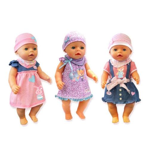 """Комплект одежды для куклы """"Baby Born"""": платье, шапочка, в ассортименте"""