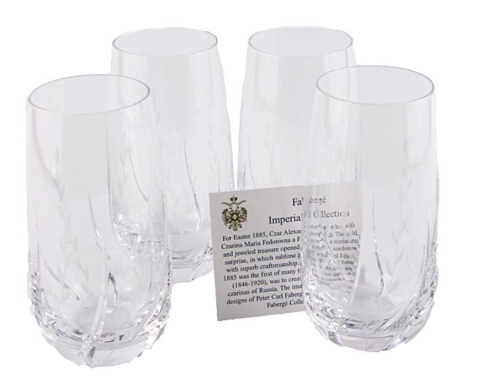 Комплект из 4 стаканов для воды и сока. Хрусталь, гранение, House of Faberge. Конец XX века