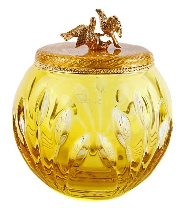 Шкатулка Голуби. Хрусталь, золочение, House of Faberge, 1990-е гг