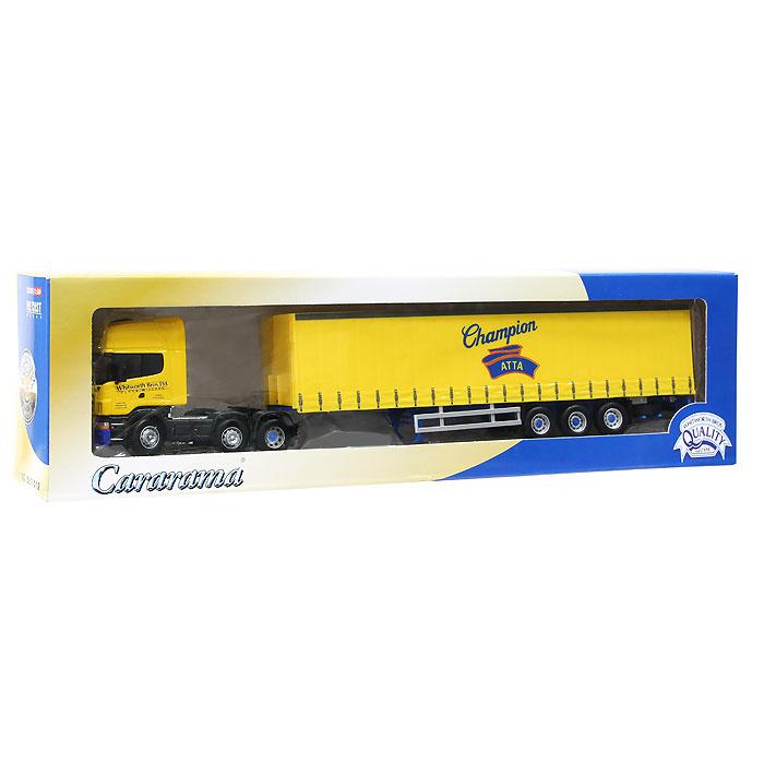 Коллекционная модель Cararama Трейлер. Масштаб 1/50, в ассортименте569Трейлер Cararama привлечет внимание не только ребенка, но и взрослого. Трейлер является точной уменьшенной копией настоящего трейлера, предназначенного для перевозки груза. Грузовик оборудован открывающимся кузовом и резиновыми колесами, в том числе двумя запасками. Кузов грузовика можно отцеплять. Трейлер Cararama будет отлично смотреться в качестве оригинального подарка не только любителю автомобилей, но и человеку, ценящему стиль и изысканность, а качество исполнения представит такой подарок в самом лучшем свете.
