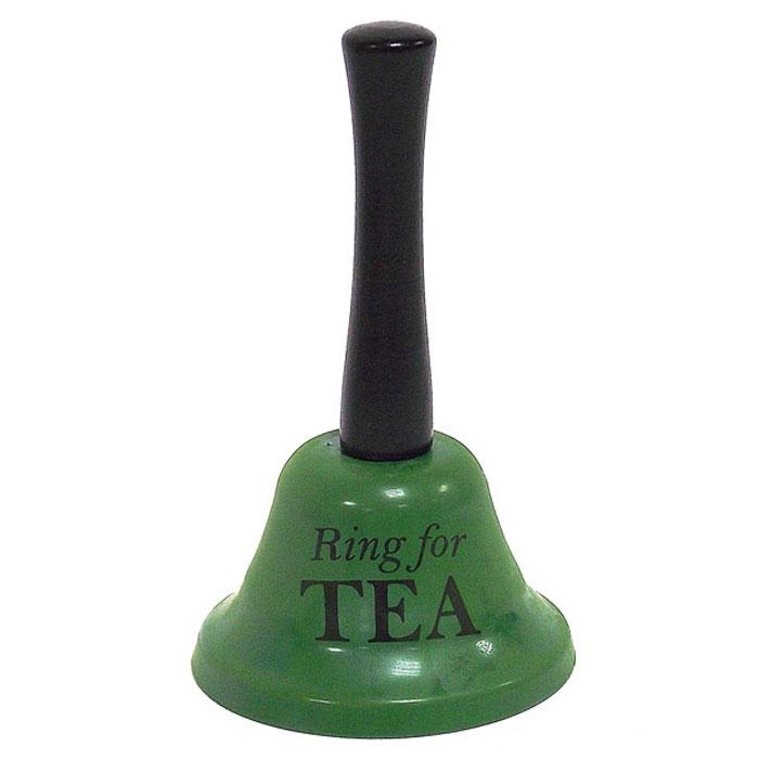 Колокольчик Ring for a Tea, цвет: зеленый93764Оригинальный колокольчик Ring for a Tea станет забавным сувениром для человека с чувством юмора. Колокольчик изготовлен из металла зеленого цвета, ручка - из дерева. Яркий сувенир со смыслом подарит положительные эмоции и вызовет улыбку.
