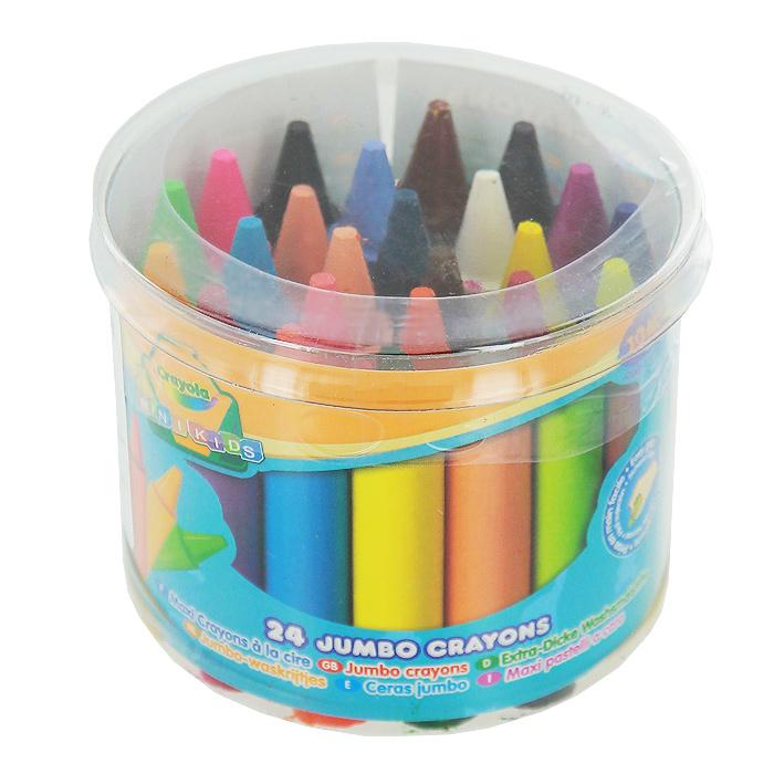 Восковые мелки Crayola Для самых маленьких, 24 цвета0784Восковые мелки Crayola созданы специально для самых маленьких художников. Мелки обеспечивают удивительно мягкое письмо, не ломаются, обладают отличными кроющими свойствами и легко отмываются с одежды или мебели с помощью теплой воды и мыла. Круглый утолщенный корпус особенно удобен для маленьких детских ручек. В изготовлении мелков использовались абсолютно безопасные натуральные материалы. Восковые мелки Crayola помогают малышам отлично развить мелкую моторику ручек, координацию движений, воображение и творческое мышления, стимулируют цветовое восприятие, а также способствуют самовыражению. Набор содержит мелки 24 ярких насыщенных цветов и оттенков, упакованных в удобную прозрачную пластиковую баночку с крышкой.