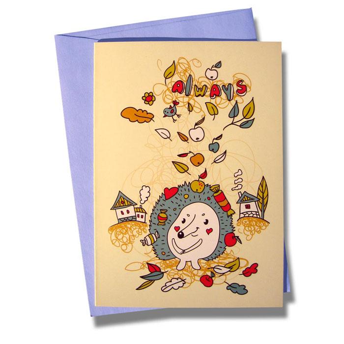 Открытка BORЯN Всегда счастливый. 001-301001-301Поздравительная открытка Всегда счастливый станет чудесным дополнением к подарку по любому поводу или милым сюрпризом и знаком внимания. На открытке изображен ежик на фоне деревенского пейзажа под дождем подарков. Открытка поставляется в комплекте с подарочным конвертом трех цветов в ассортименте: розовый, голубой или желтый. Серия Лесная сказка - открытки с романтическим сюжетом, ярким оформлением и запоминающимся дизайном. Творческая Мастерская BORЯN ® предлагает коллекцию авторских поздравительных открыток для оформления подарков. Красиво оформленный подарок - искусство!