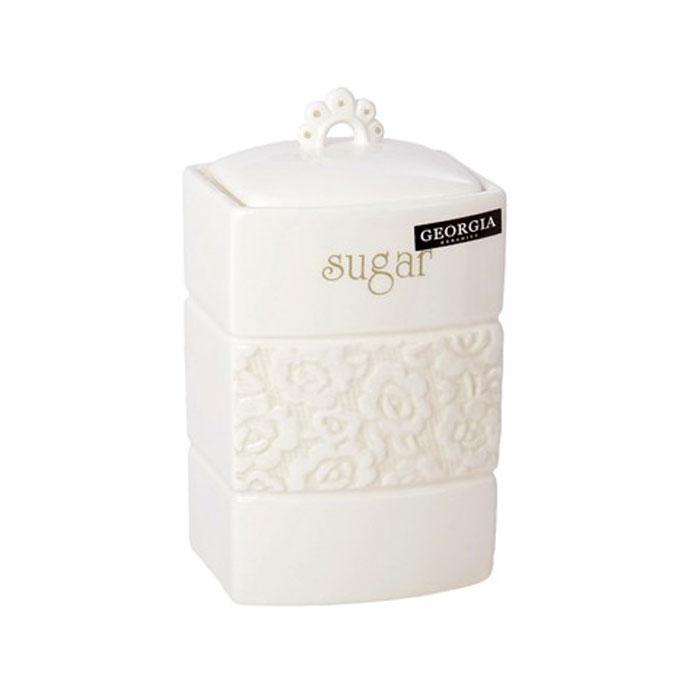 Банка для сахара Georgia Sugar 11,5 х 10,5 х 16 см 7218600721860Большая банка Georgia, выполненная из керамики и оформленная оригинальным выпуклым рисунком и надписью Sugar, станет незаменимым помощником на кухне. В ней будет удобно хранить сахар. Емкость легко закрывается крышкой, которая снабжена резиновым кольцом-уплотнителем для лучшей фиксации. Оригинальный дизайн позволит сделать такую емкость отличным подарком на любой праздник.