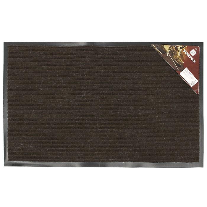 Коврик придверный Vortex, влаговпитывающий, цвет: коричневый, 50 см х 80 см22084Придверный влаговпитывающий коврик Vortex коричневого цвета выполнен из ПВХ и полиэстера. Он прост в обслуживании, прочный и устойчивый к различным погодным условиям. Лицевая сторона коврика ребристая. Прорезиненная основа коврика предотвращает его скольжение по гладкой поверхности и обеспечивает надежную фиксацию. Такой коврик надежно защитит помещение от уличной пыли и грязи. Характеристики: Материал: ПВХ, полиэстер. Размер коврика: 50 см х 80 см. Цвет: коричневый. Изготовитель: Китай. Артикул: 22084.