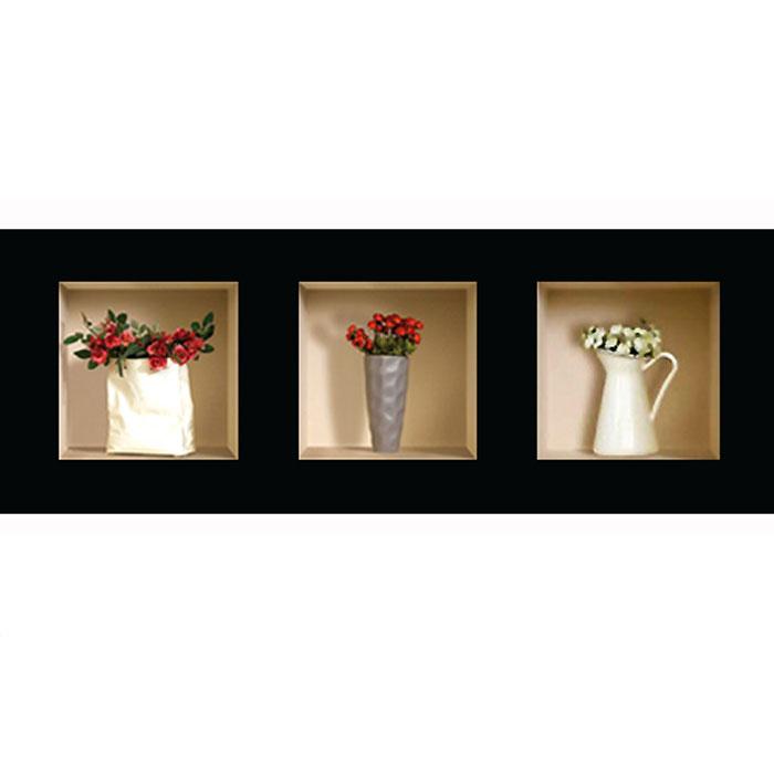 Украшение для стен и предметов интерьера с 3D эффектом Вазы с цветами №2 SKU-335Декоративные наклейки на стену Nisha - это прекрасный способ обновить интерьер в гостиной, детской комнате, спальне, столовой или офисных помещениях. 3D наклейки создают иллюзию ниши с расставленными в них игрушками, цветами, вазами или статуэтками и придают помещению уникальный дизайн. Добавьте новых красок в монотонность будней! Уникальный дизайн с элементами оптической иллюзии создается на основе обычных фотографий. Для достижения трехмерного эффекта объекты «помещают» внутрь ниш с помощью специального программного обеспечения. В наклейках использован эффект света внутри ниши, это позволяет зрительно расширить помещение, не прибегая к использованию осветительных приборов. Наклейки можно использовать на следующих поверхностях: обои, окрашенные стены, стекло, дерево, пластик и др. Главное требование - поверхность обязательно должна быть ровной. Использование на обоях с фактурной поверхностью возможно только с применением дополнительных склеивающих...