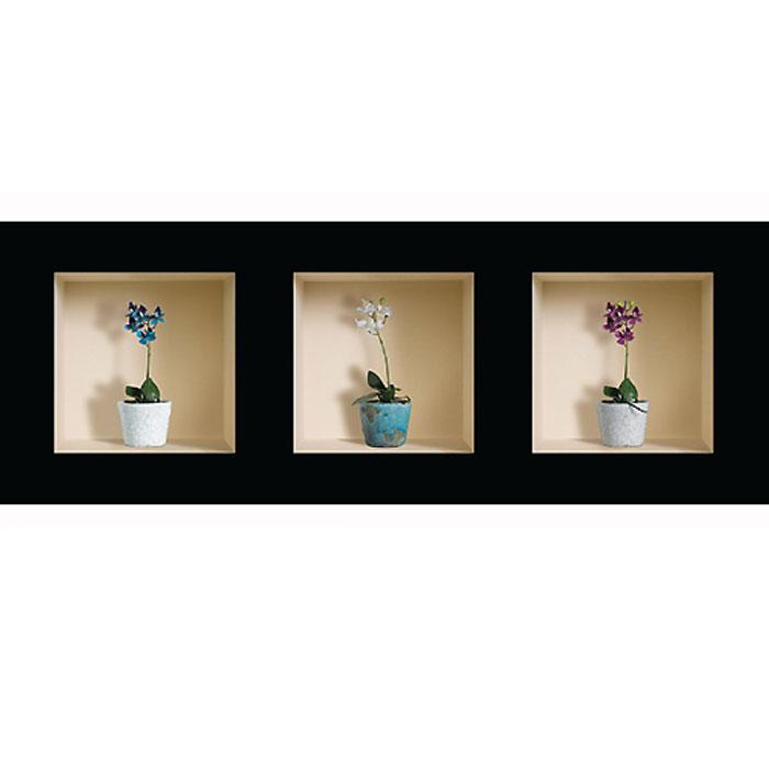 Украшение для стен и предметов интерьера с 3D эффектом Горшки с цветами №3 SKU-533Декоративные наклейки на стену Nisha - это прекрасный способ обновить интерьер в гостиной, детской комнате, спальне, столовой или офисных помещениях. 3D наклейки создают иллюзию ниши с расставленными в них игрушками, цветами, вазами или статуэтками и придают помещению уникальный дизайн. Добавьте новых красок в монотонность будней! Уникальный дизайн с элементами оптической иллюзии создается на основе обычных фотографий. Для достижения трехмерного эффекта объекты «помещают» внутрь ниш с помощью специального программного обеспечения. В наклейках использован эффект света внутри ниши, это позволяет зрительно расширить помещение, не прибегая к использованию осветительных приборов. Наклейки можно использовать на следующих поверхностях: обои, окрашенные стены, стекло, дерево, пластик и др. Главное требование - поверхность обязательно должна быть ровной. Использование на обоях с фактурной поверхностью возможно только с применением дополнительных склеивающих...