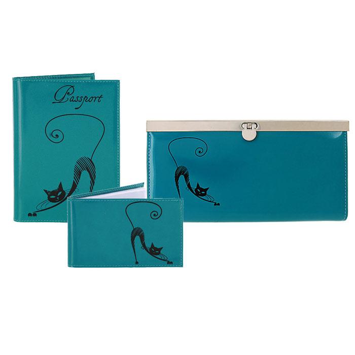 Подарочный набор Befler: обложка для паспорта, визитница, портмоне, цвет: бирюзовый. V.37/O.31/PJ.37V.37.la/O.31.la/PJ.37.lagПодарочный набор Befler состоит из обложки для паспорта, визитницы и портмоне. Предметы набора выполнены из натуральной кожи бирюзового цвета и оформлены декоративным тиснением в виде черной кошки. Обложка для паспорта не только поможет сохранить внешний вид ваших документов и защитить их от повреждений, но и станет стильным аксессуаром, идеально подходящим вашему образу. Компактная горизонтальная визитница предназначена для хранения 20 визиток. Стильное портмоне закрывается на металлический замок с защелкой. Внутри имеет четыре отделения для купюр, накладной карман для кредитных карт и карман для мелочи на застежке-молнии. Подарочный набор Befler станет великолепным подарком для человека, ценящего качественные и практичные вещи.