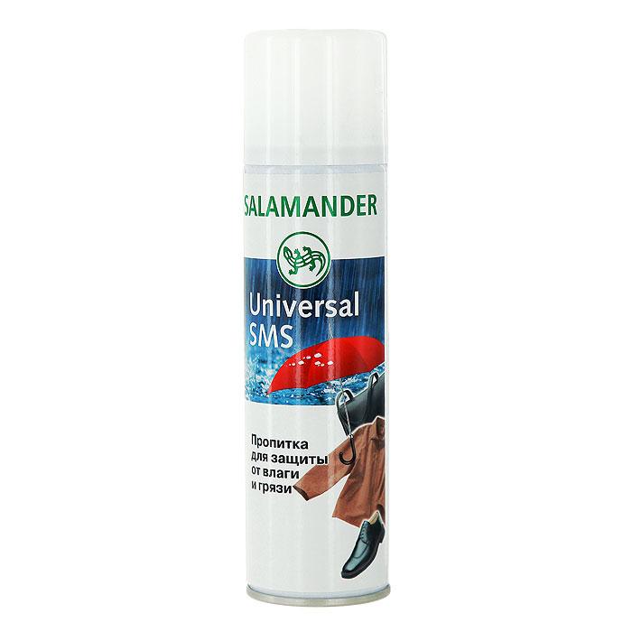 Аэрозоль Salamander Universal SMS, для гладкой кожи, 250 мл0 284 000Высококачественная водоотталкивающая пропитка Universal SMS эффективно защищает изделия из гладкой кожи, замши и текстиля от воздействия влаги, грязи, жировых загрязнений и снега. Кожа изделия сохраняет возможность дышать и остаётся эластичной. Пропитка предотвращает образование снежных, водных и солевых разводов.