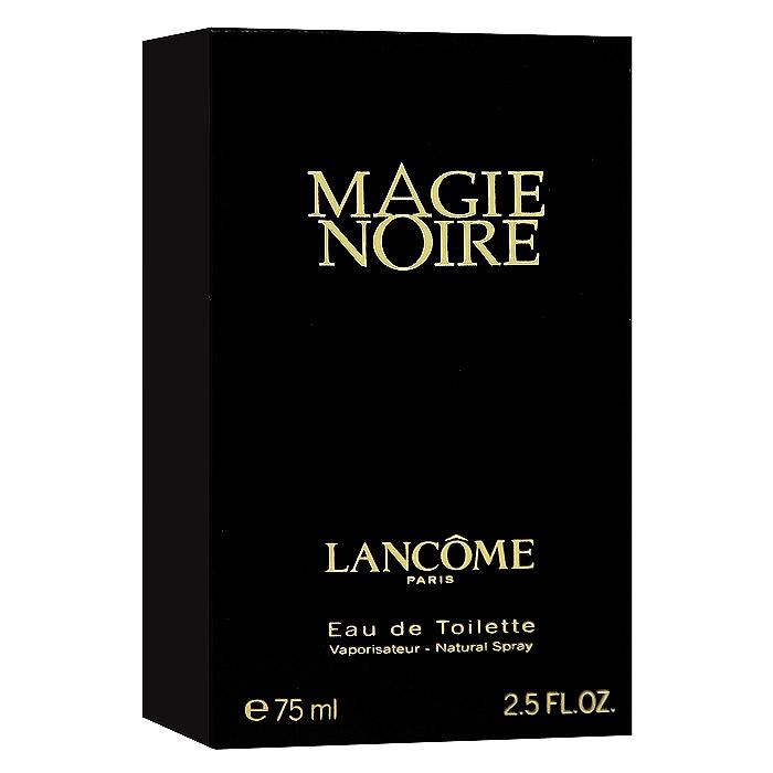 Lancome Magie Noire. Туалетная вода, 75 мл10147Lancome Magie Noire - обольстительный восточный амброво-древесный аромат. Экзотика и тайна востока. Предназначен для обольстительной, изысканной, чувственной, загадочной, томной женщины. Классификация аромата : восточный. Пирамида аромата : Верхние ноты: бергамот, гиацинт, черная смородина, малина. Ноты сердца: роза, мед, нарцисс, тубероза. Ноты шлейфа: ветивер, пачули. Ключевые слова Классический, мистический, роскошный, яркий! Характеристики: Объем: 75 мл. Производитель: Франция. Туалетная вода - один из самых популярных видов парфюмерной продукции. Туалетная вода содержит 4-10% парфюмерного экстракта. Главные достоинства данного типа продукции заключаются в доступной цене, разнообразии форматов (как правило, 30, 50, 75, 100 мл), удобстве использования (чаще всего - спрей). Идеальна для дневного использования. Товар...