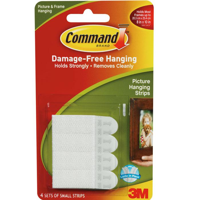 Легкоудаляемые клейкие застежки Command для картин, малые, цвет: белый, 4 шт клейкие заст жки 3 m command в краснодаре в икеи
