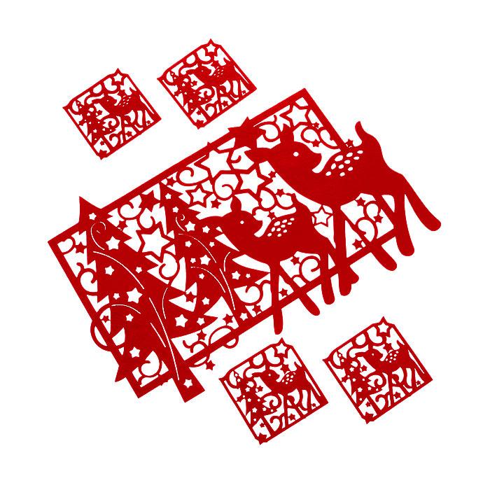 Набор подставок под горячее House & Holder 5шт, цвет: красный LS106052RLS106052RОригинальный набор House & Holder, выполненный из фетра красных цветов, состоит из пяти подставок под кружки. Такие подставки идеально впишутся в интерьер современной кухни. Большая прямоугольная и маленькие квадратные подставки, оформлены перфорацией в виде оленей с новогодними елками и узорами. Каждая хозяйка знает, что подставка под горячее - это незаменимый и очень полезный аксессуар на каждой кухне. Ваш стол будет не только украшен оригинальными подставками, но и сбережет его от воздействия высоких температур.