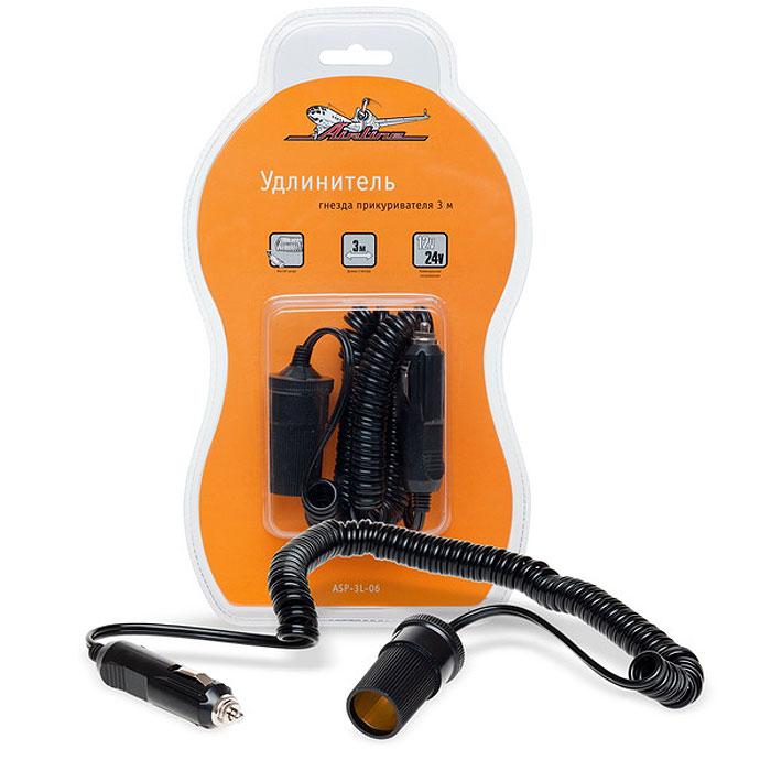Удлинитель гнезда прикуривателя Airline, 3 мASP-3L-06Удлинитель гнезда прикуривателя Airline с витым шнуром и защитным предохранителем. Характеристики: Материал: пластик, металл. Размер гнезда: 5,5 см х 3 см х 3 см. Длина шнура: 3 м. Номинальное напряжение: 12/24В. Максимальный ток: 5А. Суммарная мощность потребителей: 60 Вт. Гарантия: 6 месяцев. Размер упаковки: 29,5 см х 16,5 см х 4,5 см. Артикул: ASP-3L-06.