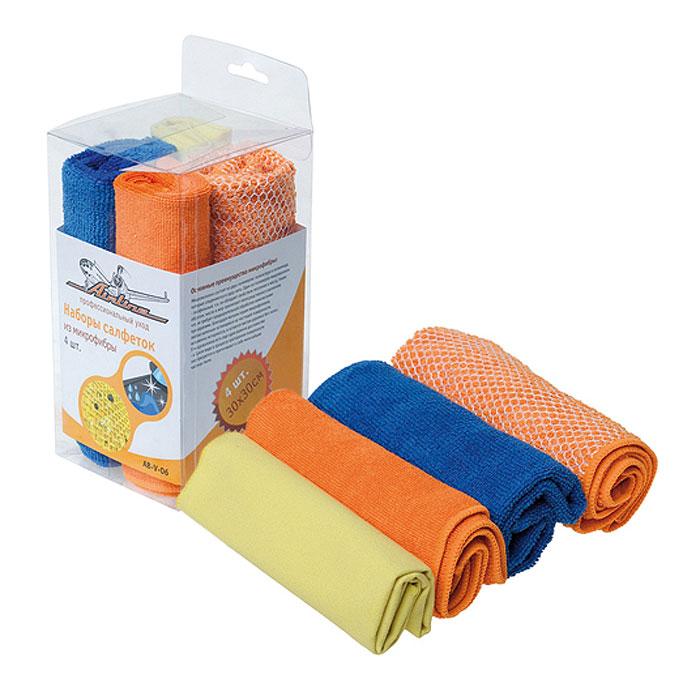 Набор салфеток Airline для уборки, 30 см х 30 см, 4 шт. AB-V-06AB-V-06Салфетки Airline из микрофибры великолепно удаляют пыль и грязь с любых поверхностей. Могут использоваться не только для мытья, но и для полировки различных поверхностей. Впитывают гораздо больше воды, чем обычная ткань. Характеристики: Материал: 80% полиэстер, 20 % полиамид. Размер слфетки: 30 см х 30 см. Комплектация: 4 шт. Размер упаковки: 8,5 см х 16,5 см х 8,5 см. Артикул: AB-V-06.