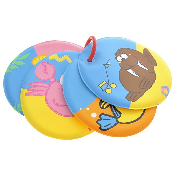 Книжка-игрушка для ванны Подводное царство27108Книжка-игрушка для ванны Подводное царство понравится вашему ребенку и развлечет его во время купания. Книжка содержит четыре странички круглой формы из прочного безопасного материала с изображениями морских обитателей: кита, краба, морского льва, моржа, креветки, ракушки, осьминога и рыбы-шар. Книжка-игрушка не промокает и хорошо держится на воде. Странички нанизаны на пластиковое кольцо, благодаря чему их удобно переворачивать. Книжка для ванны развивает у ребенка воображение, мелкую моторику, концентрацию внимания и цветовое восприятие.