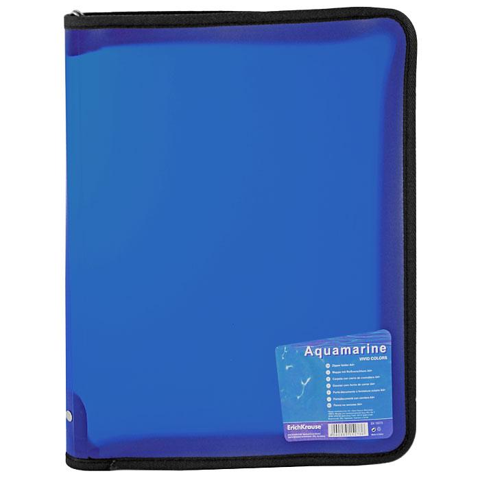 "Папка на молнии ""Erich Krause"", формат А4+, цвет: синий"