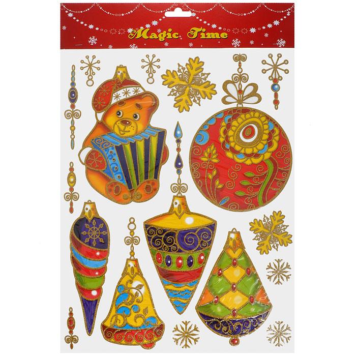 Новогоднее оконное украшение Елочные игрушки. 2658726587Новогоднее оконное украшение Елочные игрушки поможет украсить дом к предстоящим праздникам. Яркие изображения в виде елочных игрушек нанесены на прозрачную клейкую пленку. Рисунки декорированы золотистыми блестками. С помощью этих украшений вы сможете оживить интерьер по своему вкусу: наклеить их на окно, на зеркало или на дверь. Новогодние украшения всегда несут в себе волшебство и красоту праздника. Создайте в своем доме атмосферу тепла, веселья и радости, украшая его всей семьей. Коллекция декоративных украшений из серии Magic Time принесет в ваш дом ни с чем не сравнимое ощущение волшебства!