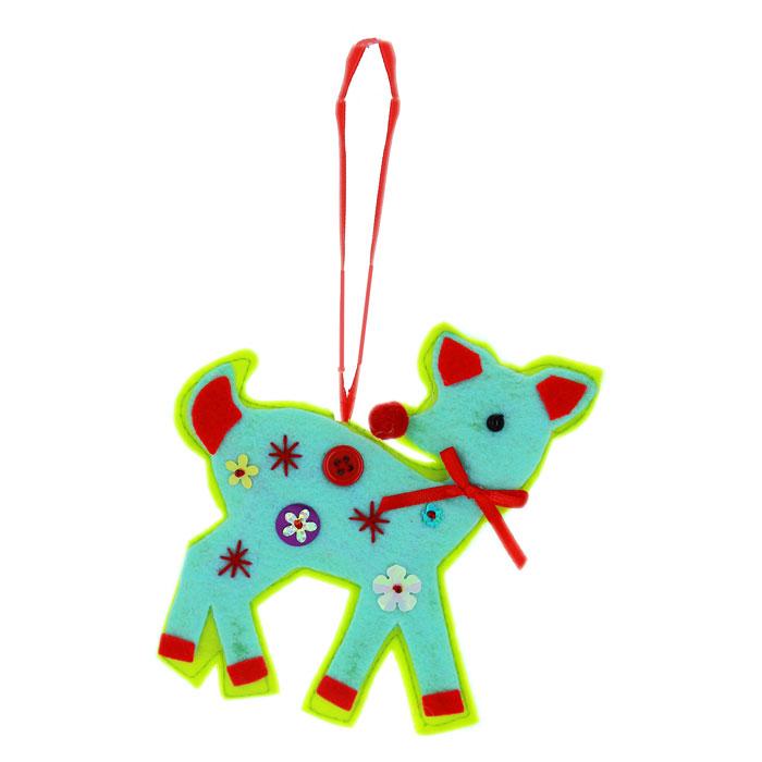 Подвесное украшение Котенок, цвет: голубой, зеленый, красный25351Подвесное новогоднее украшение Котенок, выполненное из ткани и декорированное стразами, дополнит любой интерьер и порадует вас и ваших близких.