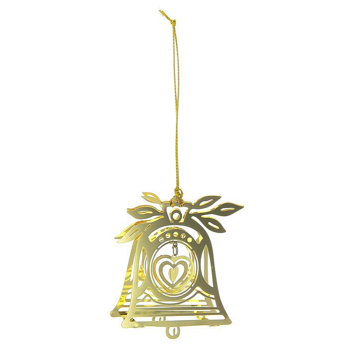 Новогоднее подвесное украшение Колокольчик, цвет: золотистый. 2507525075Новогоднее подвесное украшение Колокольчик, выполненное из золотистого металла, украсит интерьер вашего дома или офиса в преддверии Нового года. Оригинальный дизайн и красочное исполнение создадут праздничное настроение. Новогодние украшения всегда несут в себе волшебство и красоту праздника. Создайте в своем доме атмосферу тепла, веселья и радости, украшая его всей семьей.