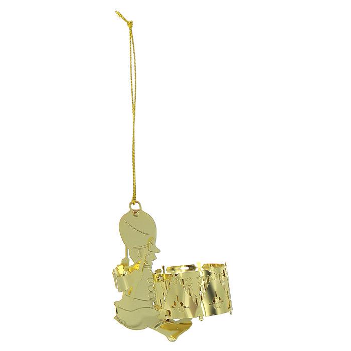 Новогоднее подвесное украшение Барабанщик, цвет: золотистый. 2507025070Новогоднее подвесное украшение Барабанщик, выполненное из золотистого металла, украсит интерьер вашего дома или офиса в преддверии Нового года. Оригинальный дизайн и красочное исполнение создадут праздничное настроение. Новогодние украшения всегда несут в себе волшебство и красоту праздника. Создайте в своем доме атмосферу тепла, веселья и радости, украшая его всей семьей.