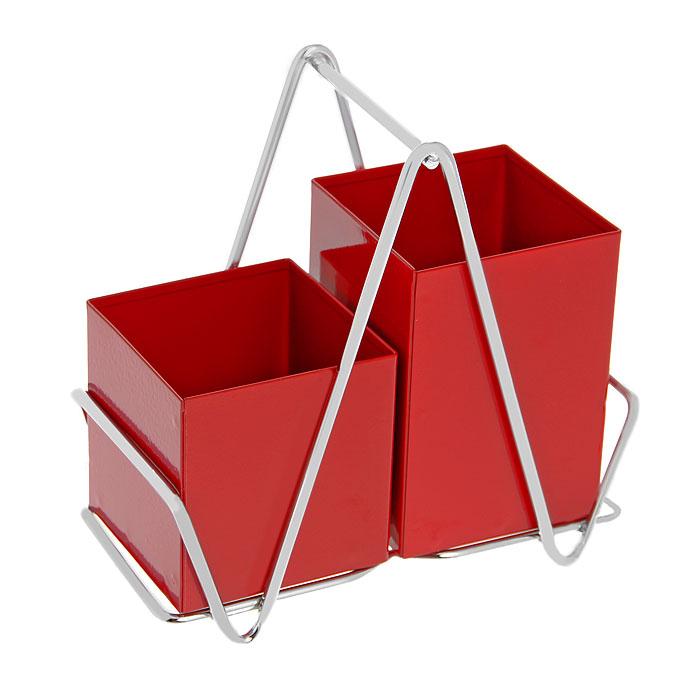Подставка для кухонных принадлежностей Caddy, цвет: красный0511128Подставка для кухонных принадлежностей Caddy выполнена из нержавеющей стали. Она выполнена в виде двух прямоугольных емкостей красного цвета с отверстиями в основании для стекания жидкости. Емкости располагаются на металлической подставке. Имеется специальная ручка для удобства при переноске. Каждая хозяйка знает, что подставка для столовых приборов - это незаменимый и очень полезный аксессуар на каждой кухне. Поэтому подставка Caddy будет отличным подарком!