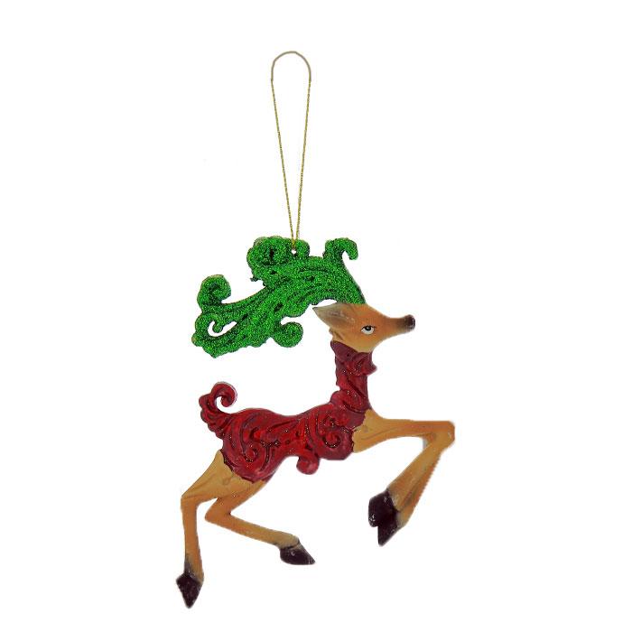 Новогоднее подвесное украшение Олень. 2587325873Новогоднее украшение Олень отлично подойдет для декорации вашего дома и новогодней ели. Украшение выполнено из пластика в виде оленя, украшенного блестками. Елочная игрушка - символ Нового года. Она несет в себе волшебство и красоту праздника. Создайте в своем доме атмосферу веселья и радости, украшая всей семьей новогоднюю елку нарядными игрушками, которые будут из года в год накапливать теплоту воспоминаний.