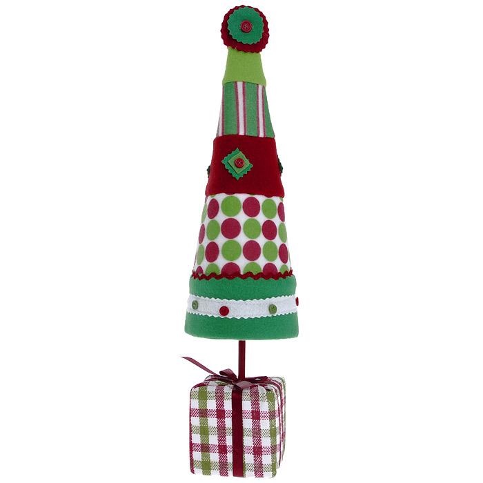 Новогоднее настольное украшение Елка. 2555425554Оригинальная елочка в стиле hand-made может послужить вам в качестве украшения новогоднего стола, офиса или просто в качестве новогоднего сувенира. Бумажный каркас изделия обтянут мягким текстилем различной расцветки. Основанием служит небольшой кубик, оформленный в виде подарка с милым бантиком.