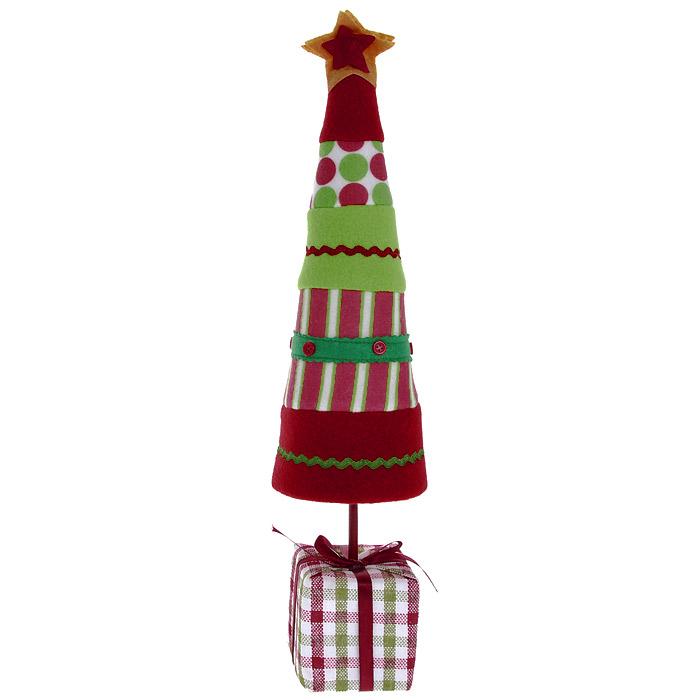 Новогоднее настольное украшение Елка. 2555325553Оригинальная елочка в стиле hand-made может послужить в качестве украшения новогоднего стола, офиса или новогоднего сувенира. Бумажный каркас изделия обтянут мягкими тканями различной расцветки. Основанием служит небольшой кубик, оформленный в виде подарка с милым бантиком.